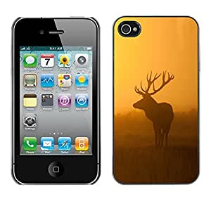 Impact Case Cover with Art Pattern Designs FOR iPhone 4 / 4S morning nature deer moose sunset sunrise Betty shop