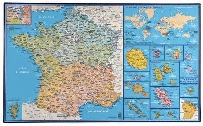 Carte De La France Sous Main Rigide Avec Regions Departements Et Villes Imprimes La France Dans Le Monde Et La France D Outre Mer Dimension 35 X 60 Cm Impression 2013