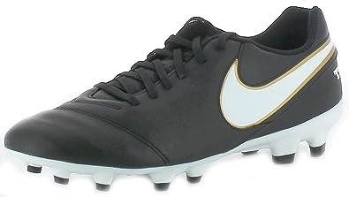 wholesale dealer 3711e 40ebb Nike Tiempo Genio Il Leather FG, Chaussures de Football Compétition Homme -  Noir - Noir