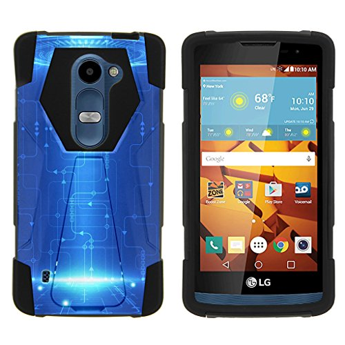 TurtleArmor | LG Sunset Case L33L | LG Power Case L22C | LG Destiny Case L21G [Dynamic Shell] Solid Compact Hard Cover Soft Rubber Hybrid Kickstand Alien and UFO Series - Blue Technology (Cover Sunset)