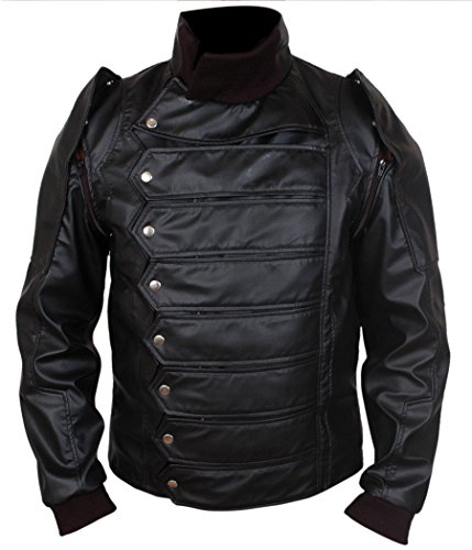 F&H Boy's Bucky Barnes Removable Arms Genuine Leather Jacket S Black -  Flesh & Hide, FH00020KC