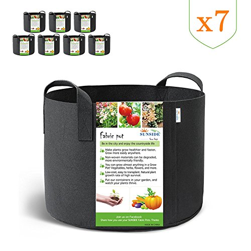 SUNSIDE 5 Gallon Grow Bags Nonwoven Plant Fabric Pots with Handles (Black) (7-Pack 5 Gallon) by SUNSIDE