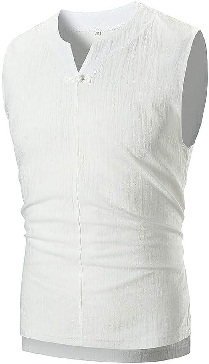 KUKICAT - Camiseta sin Mangas para Hombre, de Color Blanco, de Lino Fino, de Verano, elástico, Informal, rápida y Transpirable Blanco XL: Amazon.es: Ropa y accesorios