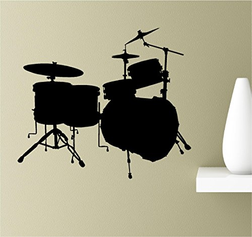 Drum set silhouette Vinyl Wall Art Inspirational Quotes Decal (Art Silhouette Set)