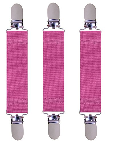 Price comparison product image Elastic Clips Holder/Gripper/Strap/Fastener for Mittens, Gloves Clip, Pant, Hat. 4 inches long, 1 inche wide. (Pink)