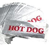 Warming Foil Hot Dog Wrapper Sleeves 200 Pack by Avant Grub. Turn a Party into a Carnival with Classic HotDog Bags that Keep Dogs Warm and Fundraiser or Concession Stand Guests Mess-Free!