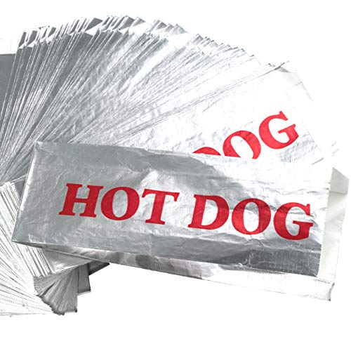 (Warming Foil Hot Dog Wrapper Sleeves 200 Pack by Avant Grub. Turn a Party into a Carnival with Classic HotDog Bags that Keep Dogs Warm and Fundraiser or Concession Stand Guests Mess-Free!)