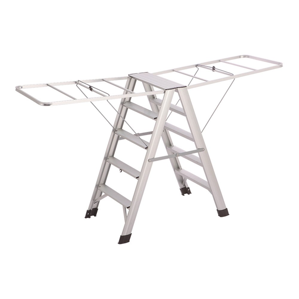 Silver 508598CM Liu JianQin Step Stools ZXQZ Step Stool Indoor Aluminum Alloy Ladder Folding Multifunctional Clothes Hanger Floor-standing Dual-use Step Stools Stepladders (color   Silver, Size   507380CM)