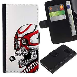 All Phone Most Case / Oferta Especial Cáscara Funda de cuero Monedero Cubierta de proteccion Caso / Wallet Case for Samsung Galaxy S6 // Skull Yo Red White Tribal Death Biker