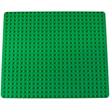 """Strictly Briks Classic Stackable Baseplate for Large Building Bricks by 100% Compatible with All Major Brands   Large Pegs for Toddlers   Single Large Tight Fit Base Plate in Green (16.25"""" x 13.75"""")"""