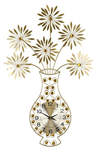 "GOLD VASE & FLOWER WALL CLOCK AMBER JEWEL EMBELLISHMENTS 37"" x 24"" MODERN ELEGANT HOME LARGE DECORATIVE WALL ART BATTERY OPERATED - Amber Wall Art"