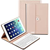 Clavier Bluetooth iPad Air 2 iPad 5 et iPad, COO Clavier Étui d'Input Français Protection Amovible sans Fil Protection 360°Rotation et Multi-angle Support pour IOS Android et Windows [3 en 1 Compatible] [Champagne]