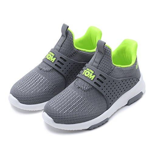 TALKING TOM Toddler/Little Kids Sneaker Boys Girls Flynit Upper Breathable Casual Shoes Lightweight Slip-On Gray Size 9.5