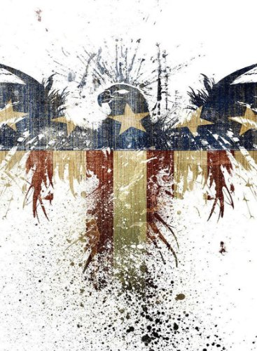 Rectangle Refrigerator Magnet - Bald Eagle Paint Splatters American Flag Red White and Blue Patriotic (Magnet Rectangle Patriotic)