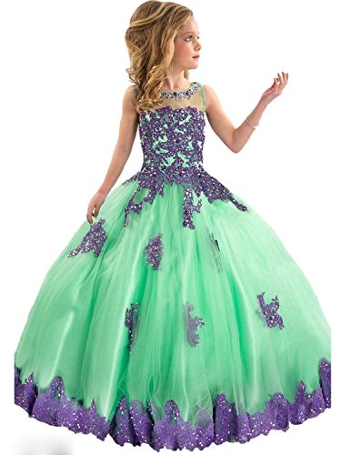 FatefulBridal Girls' Ball Gown Appliques Beads O-neck Pageant DressesF005GN-PR3