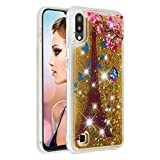 Miagon Liquid Clear Case for Samsung Galaxy A10,Soft Glitter Shockproof Cover Floating Bling Sparkle Shiny Heart Quicksand Liquid Clear Protective Case Cover-Tower Flower