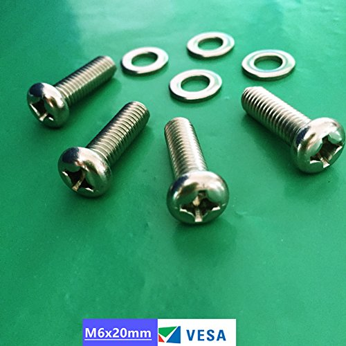 SES.CO M6x20mm TV Wall Mount Bracket Screws/Bolts for 30''-40'' Samsung LG Vizio Sharp Flat Screen TVs. (M6 Screw Tv Mount)