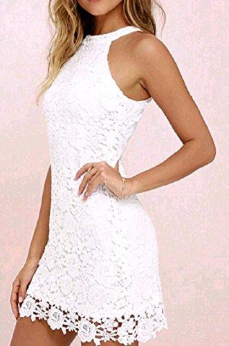 Moda Vestito Sera Senza Solido Bianco Partito Sole Da Sexy Pizzo Size Alla donne Maniche Da Di Coolred Plus Del 4qwYPTT