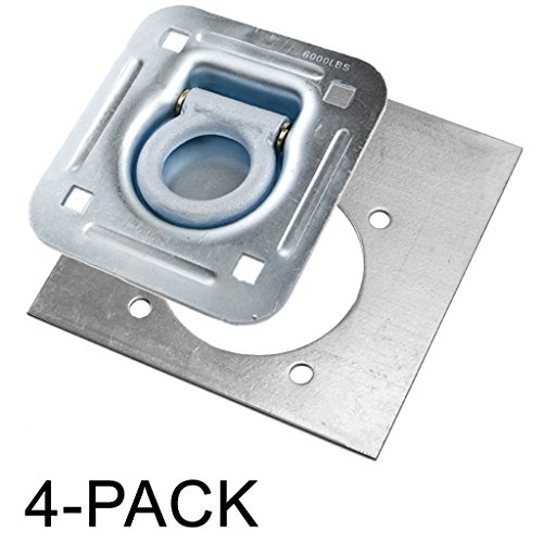 Recessed D-Ring 6,000 lb. Cap. Tiedown w/ Backing Plate - 4 pack