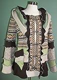 Women's Sweater Hoodie L Green Brown Pointed Hood