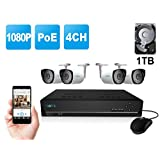 Reolink RLK4-210B4 4CH 1080P PoE NVR Home Security Camera System w/4pcs 1080P HD Outdoor Bullet IP Camera w/1TB HDD