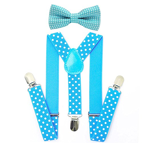 s Bowtie Set - Adjustable Suspender Set for Boys and Girls(Sky blue Polka dot) ()