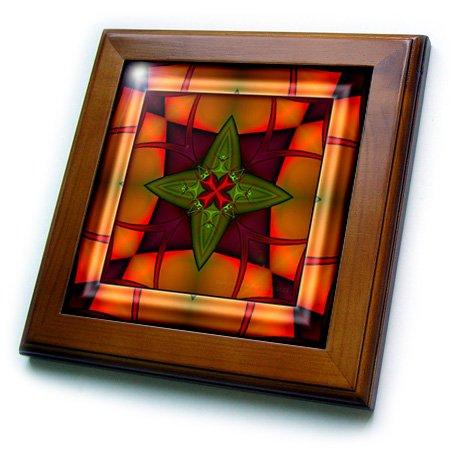 3dRose ft_26769_1 Mandala Zen Inner Balance Harmony Red Gold Green Orange Peace Energy Glowing Chakra Meditation-Framed Tile Artwork, 8 by 8-Inch