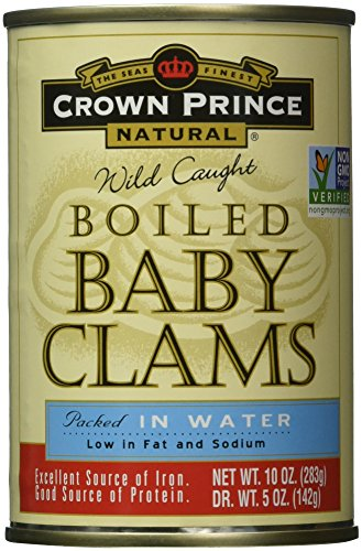 - Crown Prince, Natural Boiled Baby Clams in Water, 10 oz