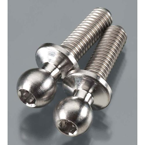Broached Titanium Ball Stud (2), 4.8x3x10mm by Lunsford Racing