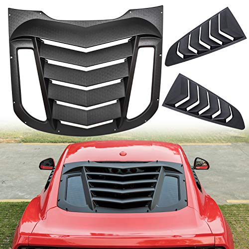 Danti Rear and Side Window Louvers Sun Shade Cover in GT Lambo Style for Ford Mustang 2015 2016 2017 2018 2019 ()
