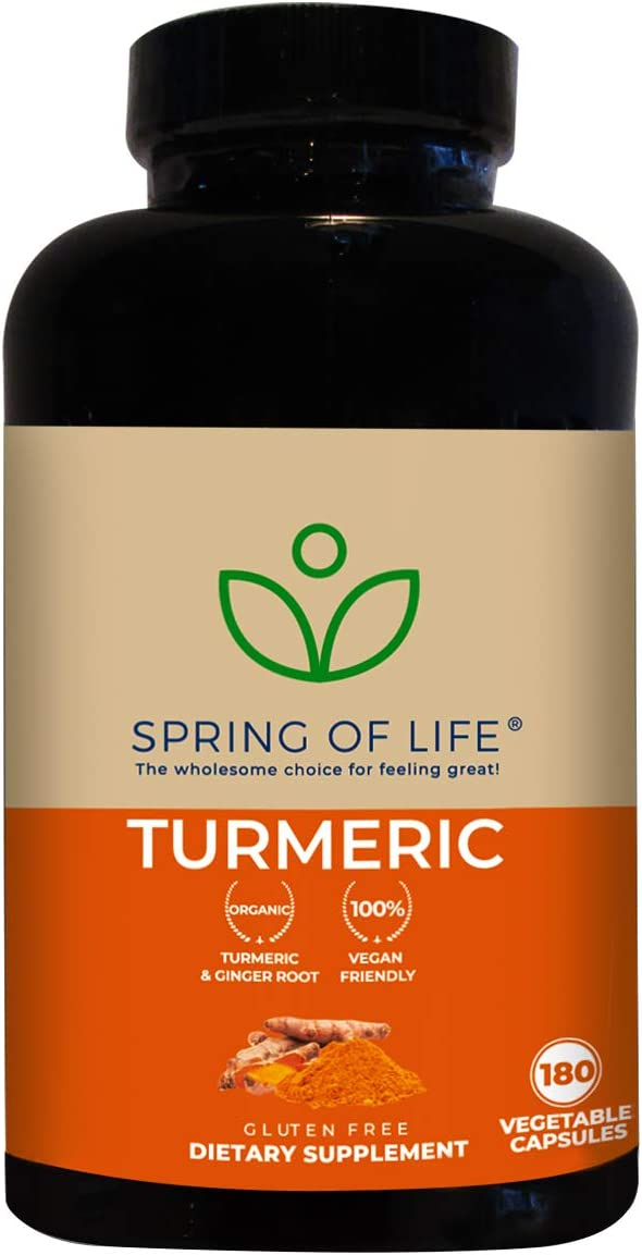 Spring of Life Turmeric Curcumin with Bioperine 1500mg with 95 Curcuminoids Extra Strength Formula for Maximum Absorption, Joint Comfort Mobility Gluten Free – 180 Veggie Caps