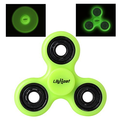 LilyBoat Fidget Spinner for Stress Reducer, High Speed Spinner for ADD, ADHD, Anxiety & Boredom Luminous,Glow in The Dark (Green -
