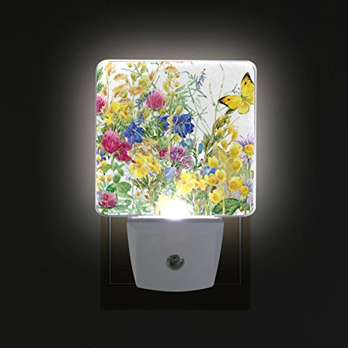 ALAZA LED Night Light With Smart Dusk To Dawn Sensor,Butterfly In Flowers Plug In Night Light Great For Bedroom Bathroom Hallway Stairways Or Any Dark Room