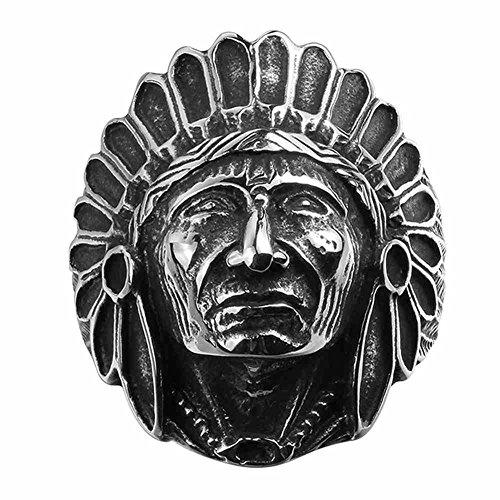 [Arlumi Stainless Steel Vintage Indian Chief Head Mens Biker Rings Silver Black] (Male Indian Chief Costume)