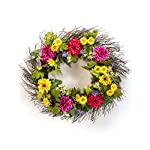 Silk Flower Arrangements Petals - Zinnia & Daisy Silk Flower Wreath - Handcrafted - Bright, Fresh Colors 24 x 24 x 4 Inches