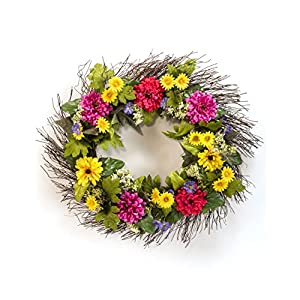 Petals - Zinnia & Daisy Silk Flower Wreath - Handcrafted - Bright, Fresh Colors 24 x 24 x 4 Inches 9