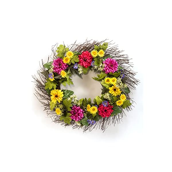 Petals – Zinnia & Daisy Silk Flower Wreath – Handcrafted – Bright, Fresh Colors 24 x 24 x 4 Inches