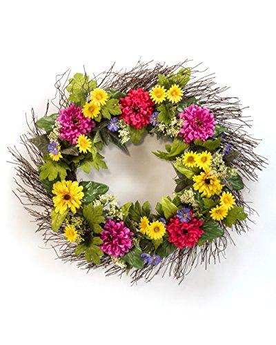 Zinnia & Daisy Silk Flower Wreath (Zinnia Silk)
