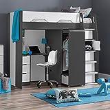 High Sleeper Storage Bed, Happy Beds Pegasus Grey Wood Modern Desk Wardrobe Drawers Cupboards Loft Bunk Frame - 3ft Single (90 x 190 cm) with Memory Foam Mattress Included