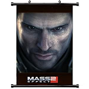 Gaming Wall Posters,Mass Effect Shepard Face Home Decor Wall Scroll Poster Fabric Painting 23.6 X 35.4 Inch (60cm X 90 cm)