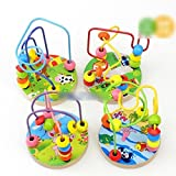 Children Wooden Mini Around Beads Maze Intellect Colorful Educational Baby Toys Random Color