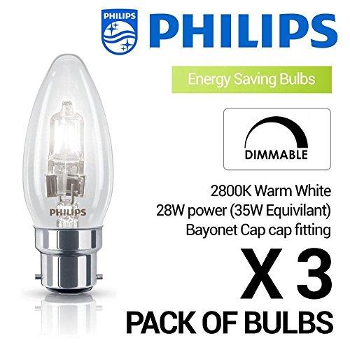 Philips Eco-Halogen Classic 28W = 35W dimmbar Kerzenglühbirne–Warmweiß (BC/B22/B22d) 370Lumen, vollständig dimmbar–3Stück