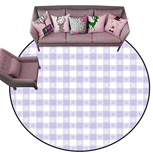 Soft Area Children Baby Playmats Lavender,Pastel Colored Classic Gingham Check Pattern with Delicate Small Blossoms,Lavander White Diameter 54