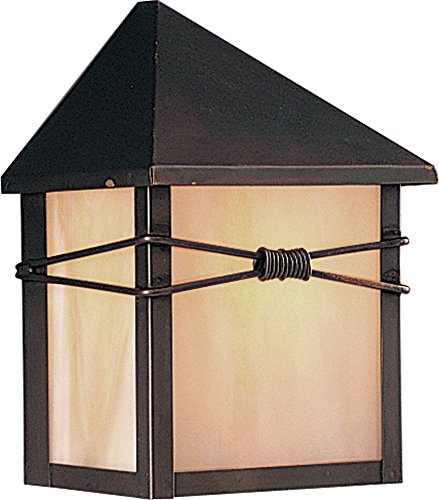 Maxim Lighting 8041IRBU One Light Burnished Iridescent Glass Outdoor Wall Light, Black (Wall Light Mount Ada Three)