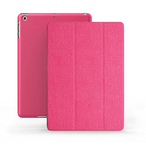 (KHOMO iPad Mini 1 2 3 Case - Dual Series - Ultra Slim Twill Pink Cover with Auto Sleep Wake Feature for Apple iPad Mini 1st, 2nd and 3rd Generation)