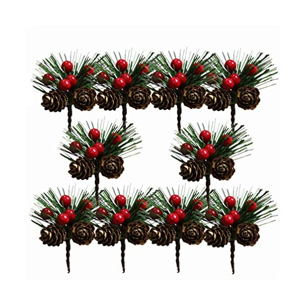 Amosfun 10Pcs Christmas Pine Picks Artificial Pine Picks Christmas Flower Arrangements Wreaths Fake Berries Pinecones Christmas Tree Decorations Holiday Home Winter Decor