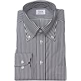 ワイシャツ メンズ長袖(ドレスシャツ)ボタンダウン 80番手双糸 ブラックロンドンストライプ 軽井沢シャツ [A10KZB409]