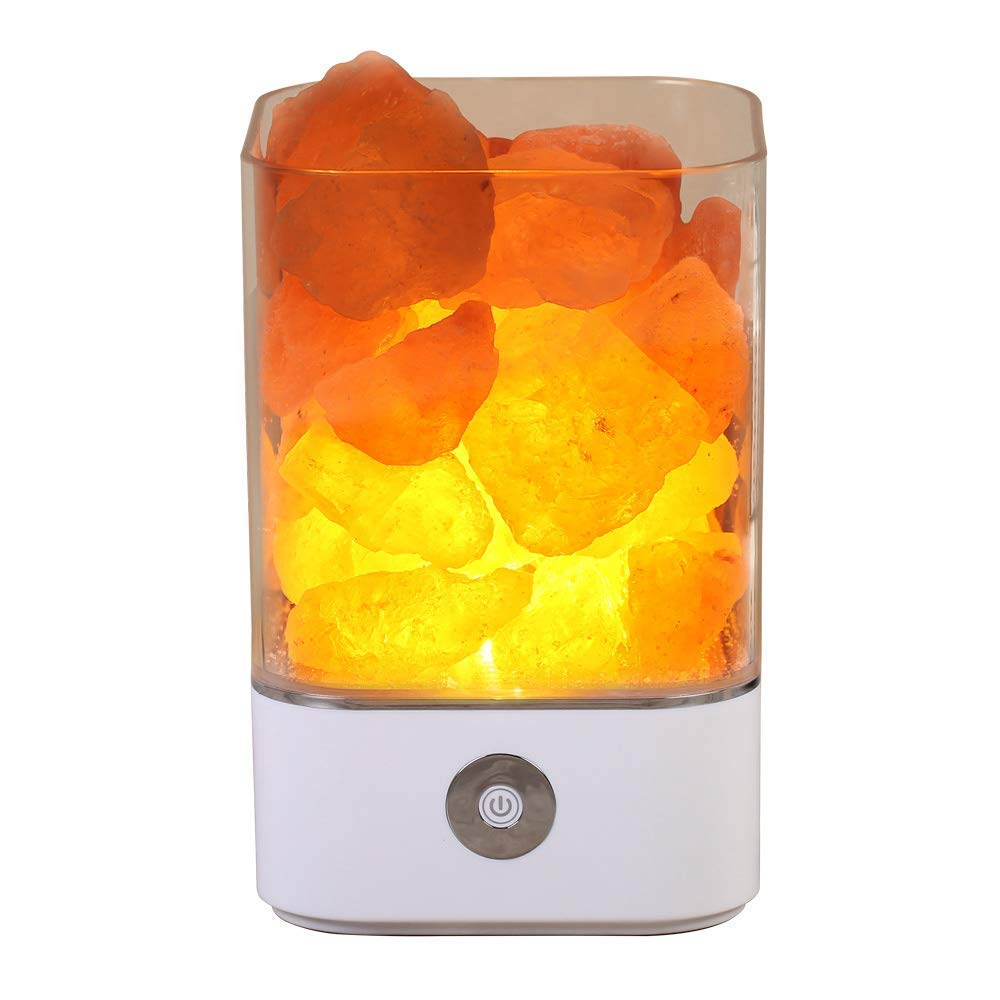 NEWKBO Himalayan Salt Lamp, Crystal Salt Lamp,Natural Air Purifying Dimmable Pink Salt Rock Crystal Amber LED Desk Night Light, Crystal Salt Lamp,with Adjustable 7 Colors Dimmer Control
