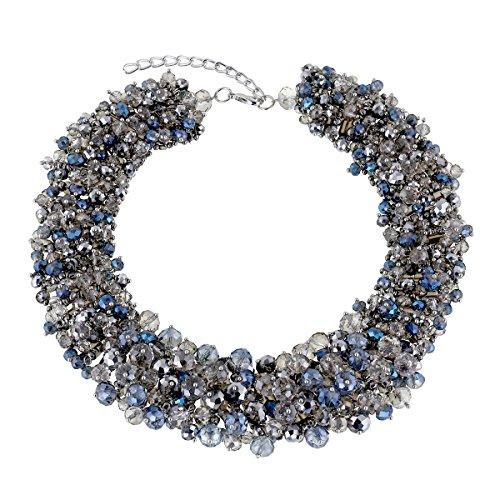 KAYMEN FASHION JEWELLERY Handmade Crystals Chunky Statement Bib Necklace Bohemian Style