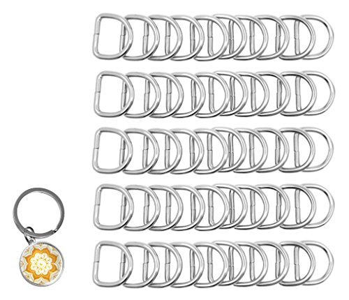 Mandala Crafts Heavy Duty Metal D Rings for Purse, Luggage, Backpack, Sewing, Keychain, Harness, Belt, Leash, Dog Collar, Hanging (4.5mm Thick 1 Inch Wide 50 PCs, Silver Tone)